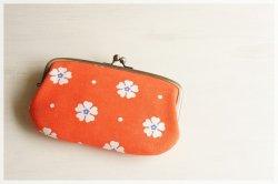 ■ヴィンテージ生地の親子がま口長財布 / オレンジに白の花■ ticket(vf-owb)