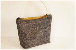 ■ワンハンドルショルダーバッグ・手紡ぎ、手織りシルク・コットン■ brume (gmi-bka)