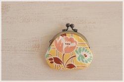 ■丸型がま口コインケース / 黄色の花柄■ cloche(pf)
