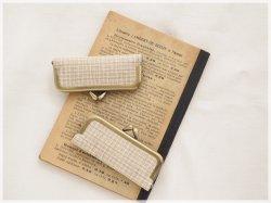 ■手紡ぎ、手織りシルク・リネンのがま口印鑑ケース / ■ hanko case (gmi-aa)