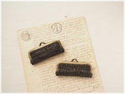 ■手紡ぎ、手織りシルク・リネンのがま口印鑑ケース / bka■ hanko case (gmi-bka)