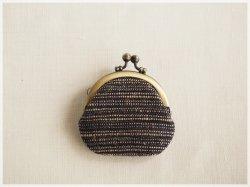 ■丸型がま口コインケース / 手紡ぎ、手織りシルク・リネン ac■ cloche(gmi-ac)