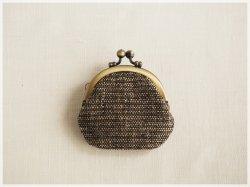 ■丸型がま口コインケース / 手紡ぎ、手織りシルク・リネン ad■ cloche(gmi-ad)