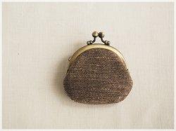 ■丸型がま口コインケース / 手紡ぎ、手織りシルク・リネン ae■ cloche(gmi-ae)