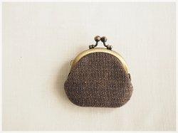 ■丸型がま口コインケース / 手紡ぎ、手織りシルク・リネン af■ cloche(gmi-af)