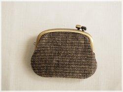 ■横ひねりのがま口コインケース / 手紡ぎ、手織りシルク・リネン aa■ panier (gmi-aa)