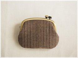 ■横ひねりのがま口コインケース / 手紡ぎ、手織りシルク・リネン ab■ panier (gmi-ab)