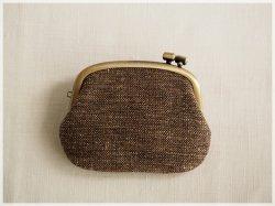 ■横ひねりのがま口コインケース / 手紡ぎ、手織りシルク・リネン ac■ panier (gmi-ac)