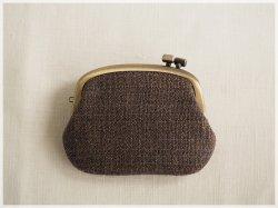 ■横ひねりのがま口コインケース / 手紡ぎ、手織りシルク・リネン ad■ panier (gmi-ad)