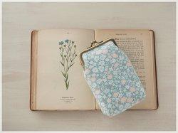 ■ヴィンテージ生地のがま口シガレットケース / 淡い色の小花柄■ tabacco (vf-pl)