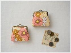 ■ヴィンテージファブリックのがま口コインケース / ベージュにピンクブラウンの花■ coin(vf-brbp)