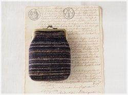 ■手紡ぎ、手織りシルク・リネンのがま口カードケース / ■ chat (gmi-b)