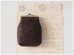 ■手紡ぎ、手織りシルク・リネンのがま口カードケース / ■ chat (gmi-c)
