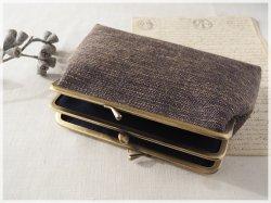 ■手紡ぎ、手織りシルク・リネンの三枚口がま口ポーチ / a■ feuille (gmi-a)