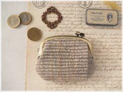 ■手紡ぎ、手織りシルク・リネンの横ひねりがま口コインケース / ba■ panier(gmi-ba)