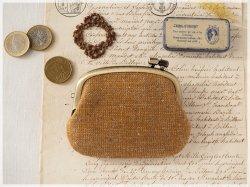 ■手紡ぎ、手織りシルク・リネンの横ひねりがま口コインケース / bb■ panier(gmi-bb)