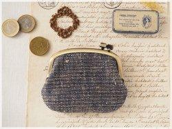 ■手紡ぎ、手織りシルク・リネンの横ひねりがま口コインケース / bc■ panier(gmi-bc)