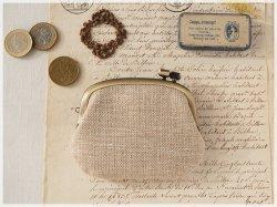■手紡ぎ、手織りシルク・リネンの横ひねりがま口コインケース / bd■ panier(gmi-bd)
