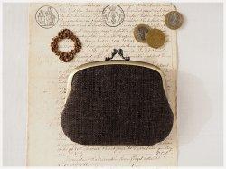 ■手紡ぎ、手織りシルク・リネンの親子がま口財布【ミニマムサイズ】/ae ■ lucas (gmi-ae)