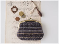 ■手紡ぎ、手織りシルク・ウールの親子がま口財布【ミニマムサイズ】/b ■ lucas (gmi-b)