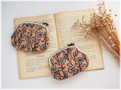 ■ヴィンテージ生地の横ひねりがま口コインケース / 茶色の花柄 ■ panier(vf-br)