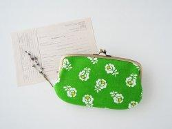 ■ヴィンテージ生地の親子がま口長財布/グリーンに白の花■ ticket(vf-gw)