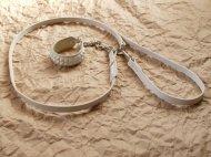イタグレの白いスタッズ首輪とリードのセット