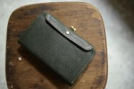 緑の革のがま口財布