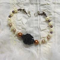 黒薔薇とパールの羽織紐