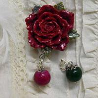 紅薔薇の2WAY帯留め
