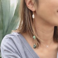African Turquoise Long Pierced Earring  アフリカンターコイズ&マザーオブパール 14kgf ロングピアス