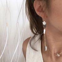 Flower Shell & Abalone Shell 14kgf  Long Pierced Earring フラワーシェル&アバロンシェル 14kgf ロングピアス