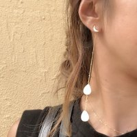 Crescent Moon White Shell Drops  Long Pierced Earring 三日月 クレッセント ドロップシェル 14kgf ロングピアス
