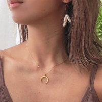<img class='new_mark_img1' src='https://img.shop-pro.jp/img/new/icons57.gif' style='border:none;display:inline;margin:0px;padding:0px;width:auto;' />Crescent Moon Double Horn Charm Necklace クレッセント ダブルホーン チャーム 14kgfネックレス