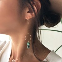 African Turquoise Hoop Design Pierced Earring アフリカンターコイズ フープデザイン 14kgfピアス