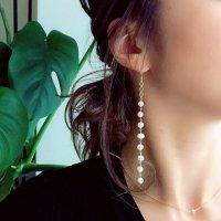 Fresh water pearl Long Pierced Earring  淡水パール 14kgf ロングピアス
