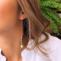 <img class='new_mark_img1' src='https://img.shop-pro.jp/img/new/icons14.gif' style='border:none;display:inline;margin:0px;padding:0px;width:auto;' />Tiny Coin Turquoise Beads Long Pierced Earring  タイニーコイン ターコイズビーズ  14kgf ロングピアス