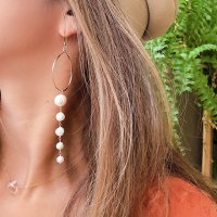 <img class='new_mark_img1' src='https://img.shop-pro.jp/img/new/icons14.gif' style='border:none;display:inline;margin:0px;padding:0px;width:auto;' />Fresh water pearl  Hoop 14kgf Pierced Earring 淡水パール フープデザイン 14kgfピアス