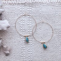 <img class='new_mark_img1' src='https://img.shop-pro.jp/img/new/icons14.gif' style='border:none;display:inline;margin:0px;padding:0px;width:auto;' />Copper Turquoise 14kgf  Hoop Pierced Earring コッパーターコイズ 14kgf フープピアス