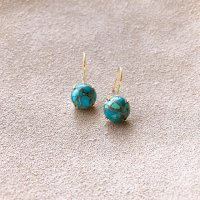 <img class='new_mark_img1' src='https://img.shop-pro.jp/img/new/icons14.gif' style='border:none;display:inline;margin:0px;padding:0px;width:auto;' />Copper Turquoise Simple silver925  Pierced Earring 一粒コッパーターコイズ  シンプル Silver925ピアス