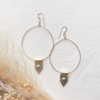 <img class='new_mark_img1' src='//img.shop-pro.jp/img/new/icons14.gif' style='border:none;display:inline;margin:0px;padding:0px;width:auto;' />Turkey Charm Turquoise  14kgf  Hoop Pierced Earring トルコチャーム ターコイズ 14kgfフープピアス