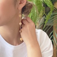 <img class='new_mark_img1' src='https://img.shop-pro.jp/img/new/icons14.gif' style='border:none;display:inline;margin:0px;padding:0px;width:auto;' />Pink Moss Agate Beads Long Pierced Earring ピンクモスアゲートビーズ 14kgf ロングピアス