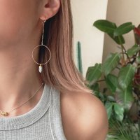 <img class='new_mark_img1' src='https://img.shop-pro.jp/img/new/icons14.gif' style='border:none;display:inline;margin:0px;padding:0px;width:auto;' />Dendrite Opal  Hoop Design Pierced Earring デンドライトオパール フープデザインピアス