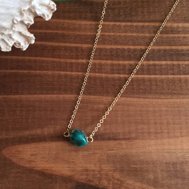 Turquoise 14kgf Necklace 一粒ターコイズ 14kgf ネックレス