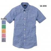 半袖ギンガムチェックシャツ(抗菌防臭)(SASARI)[SA-3010]