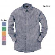 長袖ギンガムチェックシャツ(抗菌防臭)(SASARI)[SA-3011]
