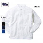 4.3oz ポケット付き 長袖 アクティブ ポロシャツ(BEES BEAM/ビーズビーム)[APL-269]