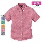 《レディース》半袖ギンガムチェックシャツ(抗菌防臭)(SASARI)[SA-4010]
