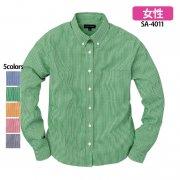 《レディース》長袖ギンガムチェックシャツ(抗菌防臭)(SASARI)[SA-4011]