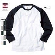 《150cmから展開》6.2oz オープンエンド ラグランロングスリーブTシャツ(TRUSS/トラス)[OE1212]